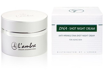 Омолаживающий ночной крем косметической линии средств для ухода за кожей DNA-SHOT парфюмерно-косметической компании Ламбре (L'ambre)